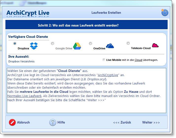 AchiCrypt Live Cloud-Verschlüsselung