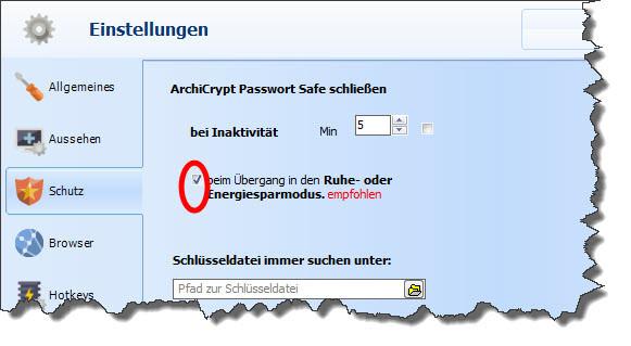 ArchiCrypt Passwort Safe Energiedesparmodus und Ruhemodus