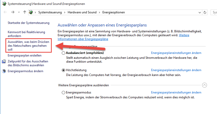 Energieoptionen Windows 10