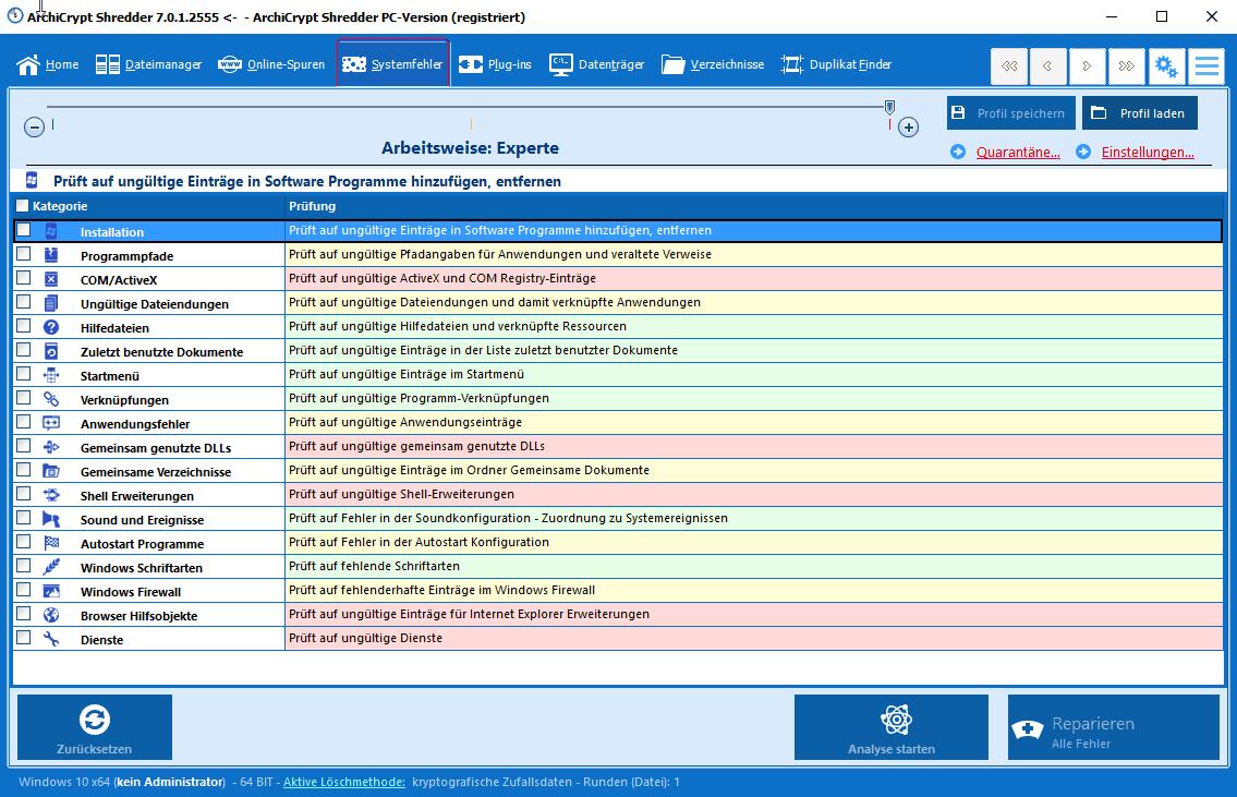 Shredder 7 - Systemfehler-Bereinigung