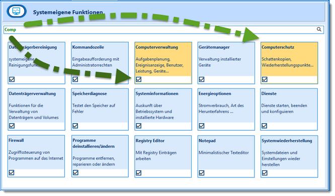 Schneller Zugriff auf Systemwerkzeuge und Systemeinstellungen