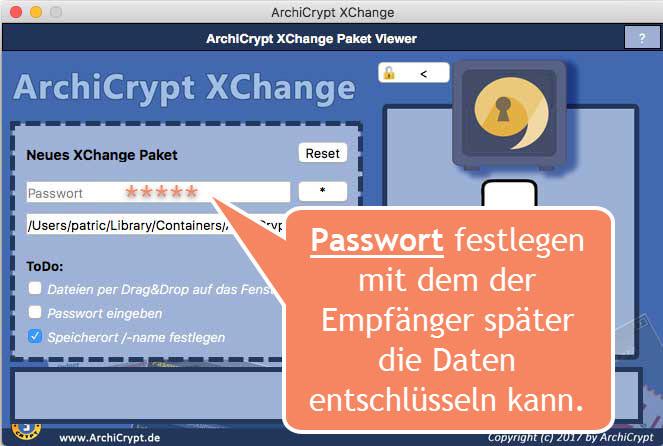 XChange-Passwort festlegen