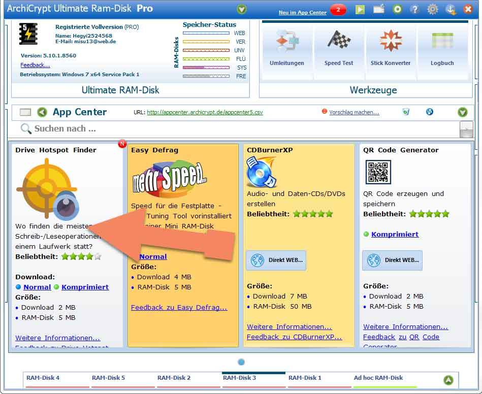 Drive Hotspot-Finder in Ultimate RAM-Disk