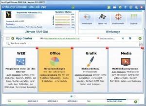 AppCenter mit vorinstallierten Programmen auf RAMDisk