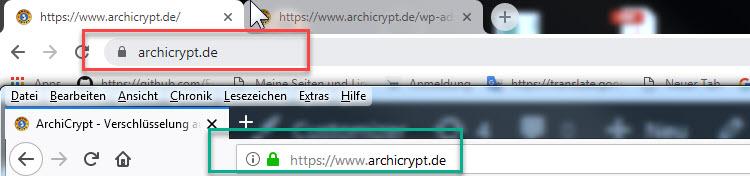 Adressleiste Chrome 69 und Firefox