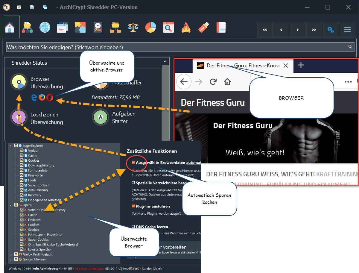 Shredder 8 löscht Browser Spuren